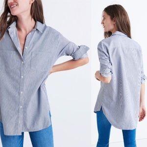 Madewell Oversized Ex Boyfriend Blue Stripe Shirt